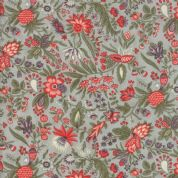 Moda Quill by 3 Sisters - 5603 - Flourish, Coral Floral on Pale Mint - 44153 14 - Cotton Fabric